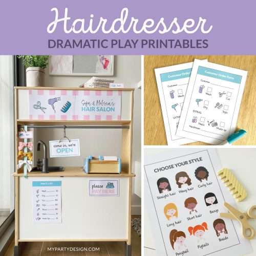 Hairdresser Dramatic Play Set - Printables for Imaginative play