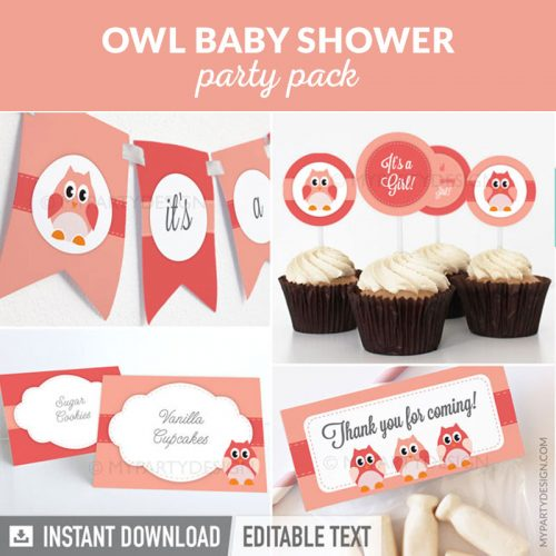 pink owl baby shower party decoration printables